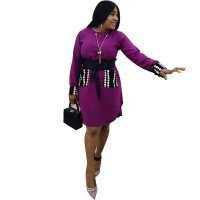 Printed Wave Point Fat Plus Size Dress with Belt