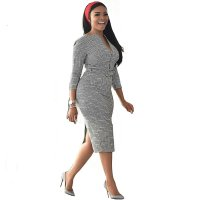 Houndstooth Zipper Plus Size Midi Dress with Belt