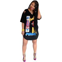 Casual Loose Graffiti Printed Short Sleeve T-shirt Dress