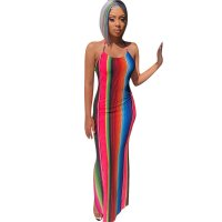 Rainbow Striped Women's Long Dress