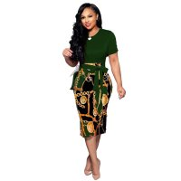 Casual Print Patchwork Short Sleeve Belted Midi Dress