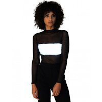 Long Sleeve Reflective Snap-on Bodysuit Top