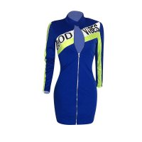 Zipper Cardigan Sports Mini Dress