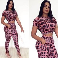 Casual Letter F Printed Two Piece Set
