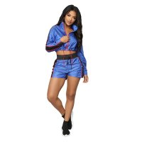 Casual Zipper Stripe Stitching Sport Shorts Set