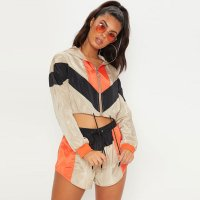 Colour Block Shell Suit Short Crop Top Windbreaker Set