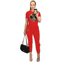 Casual Sequined Letter Applique Sports Two-Piece Set