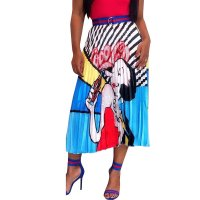 Casual Cartoon Girl Print Casual Party Summer Pleated Skirt
