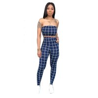 Casual Plaid Strapless Pencil Pants Set