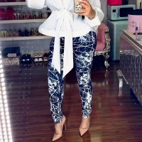 Skinny Print Pencil Pants Women's Casual Pants