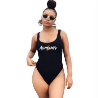 Letter Printed One Piece Swimsuit