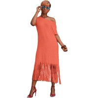 Solid Color Mid Dress with Tassel