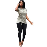 Casual Pleated Short Sleeve Top