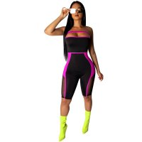 Mesh Splicing Perspective Strapless Bodysuit