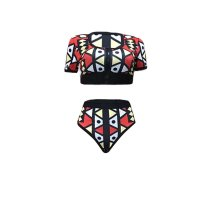 Casual Zipper Cutout Printed Bikini Set