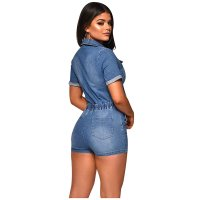 Turndown Neck Tie-Wrap Denim Romper For Women