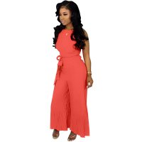 Solid Color Pleated Straps Jumpsuit with Wide Leg