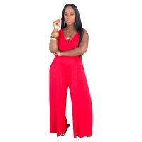 Solid Color V-neck Sling Jumpsuit