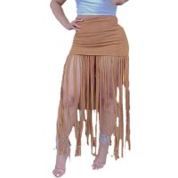 Solid Color Stitching Fringed Skirt