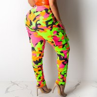 Casual Neon Camouflage Pants with Belt