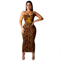Classic Sleeveless Square Neck Leopard Print Bodycon Dress