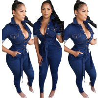 Washed Belted Denim Jumpsuit