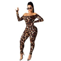 Off The Shoulder Leopard Print Jumpsuit
