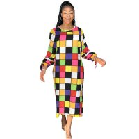 Casual Colorful Plaid Long Sleeve Mid Dress