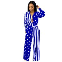 Casual Polka Dot Striped Print Jumpsuit