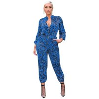 Autumn and Winter Long Sleeve Leopard Print Jumpsuit