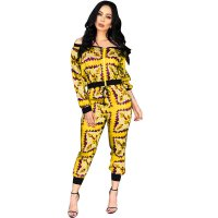 Boat Neck Long Sleeve Printed Two Piece Sets