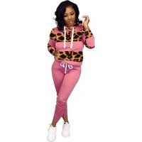 Casual Leopard Sports Hooded Sweatshirt Pant Set