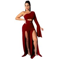 Solid Color One Shoulder Split Jumpsuit with Belt