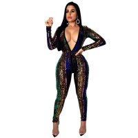 Casual V Neck Sequined Jumpsuit