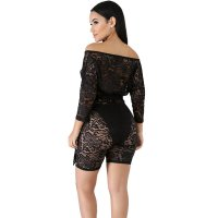 Transparent Bandage Deep V-neck Lace Romper