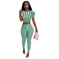 Casual Print Striped Two Piece Set