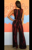 Belt Design V Neck Printed Jumpsuit L55194