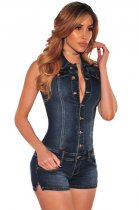 Denim Button Down Sleeveless Romper L55278
