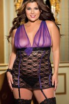 Plus Size Mesh and Lace Chemise P2215-2