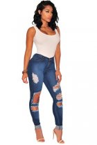 Dark Wash Denim Ripped Skinny Jeans L553