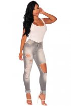 Gray Destroyed Skinny Jeans L552