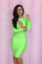 Hot Womens Crystal Neon Green Bodycon Evening Dress L2671-2