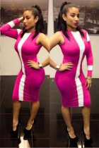 pink/white color one sleeve Bodycon Dresses L2744-1