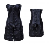 Sexy Black Leather Corset and Skirt L6041
