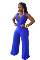 Deep V Neck Royal Blue Wide Leg Jumpsuit L55212
