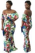Flowers Printed Sexy Dew Shoulder Maxi Dress L51329