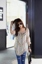 V-Neck Crochet Trim Tunic L38190