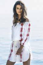 White Beach Dress with Red Embroidery L38420-2