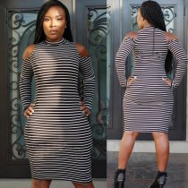 Lady High Round Neck Long Sleeves Tight Bodycon Dress L27922
