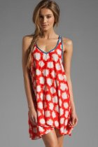 Orange Sparks Print Cover-ups Beach Dress L3778-1
